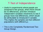 t test of independence