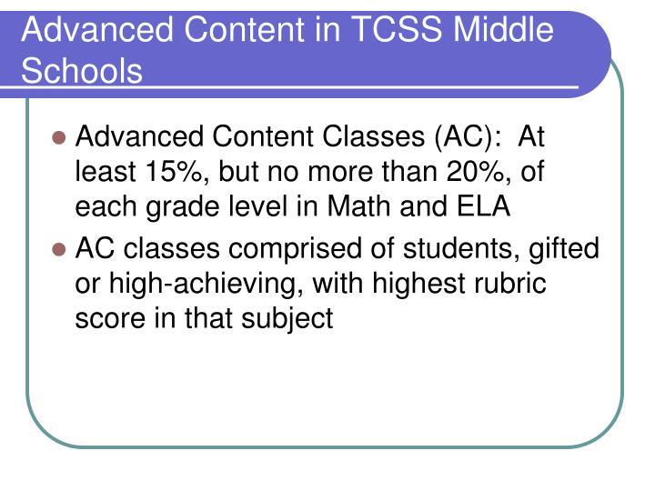 Advanced Content in TCSS Middle Schools