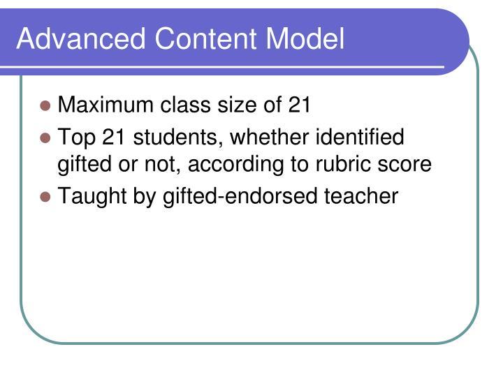 Advanced Content Model