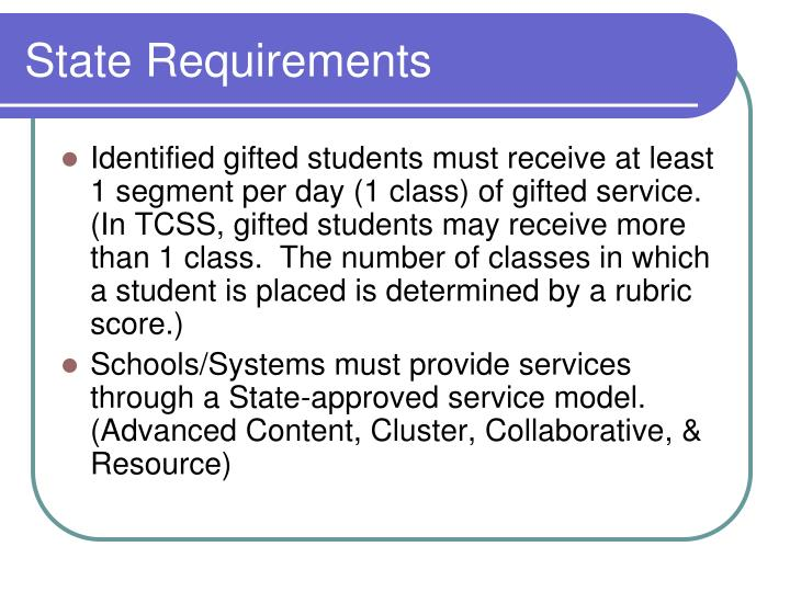 State requirements