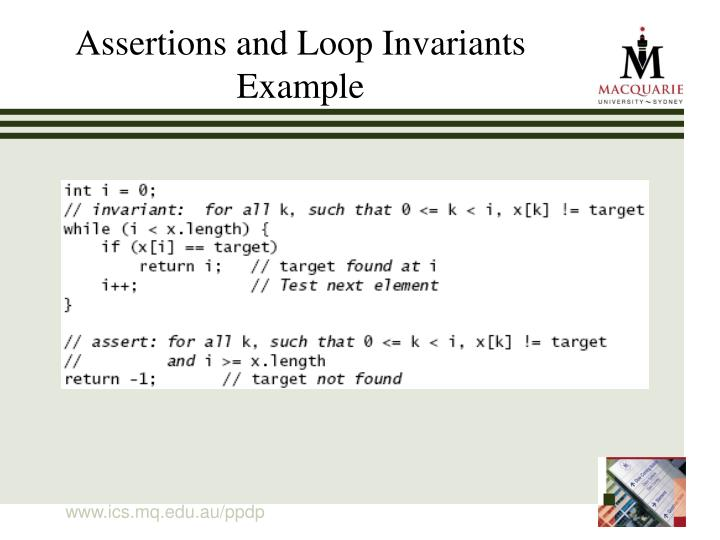 Assertions and Loop Invariants Example