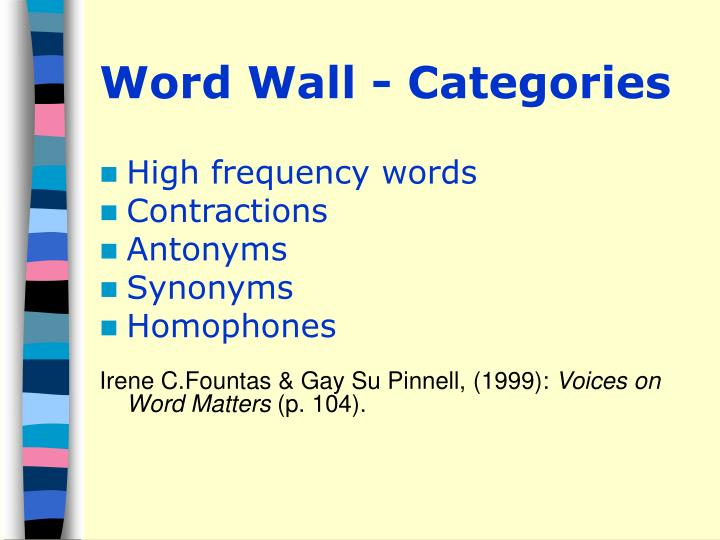 Word Wall - Categories
