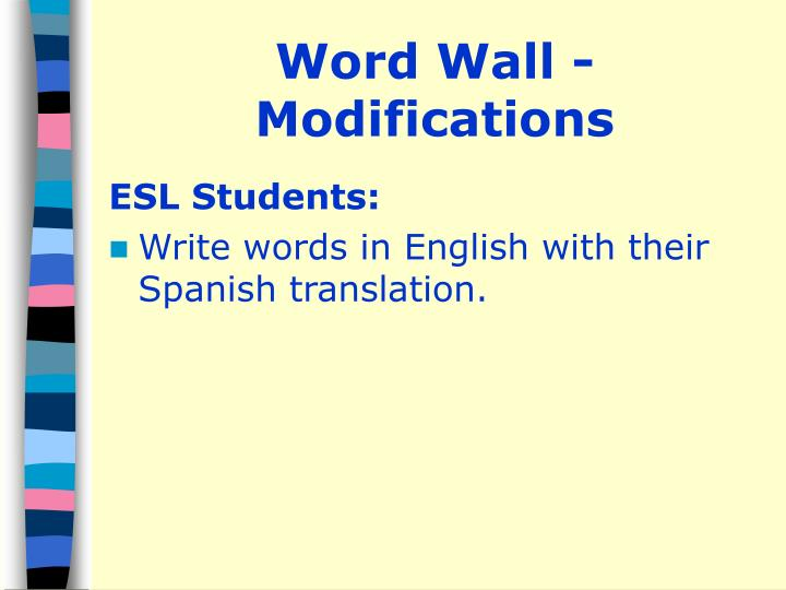 Word Wall - Modifications