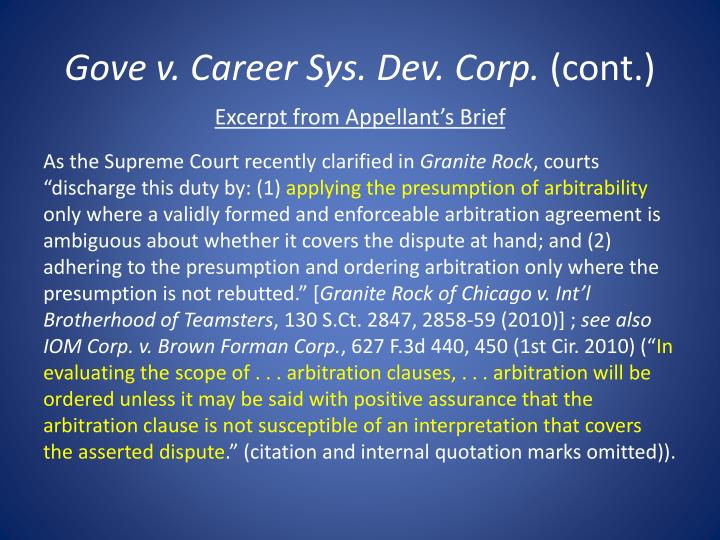 Gove v. Career Sys. Dev. Corp.