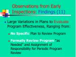 observations from early inspections findings 11