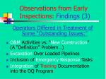 observations from early inspections findings 31