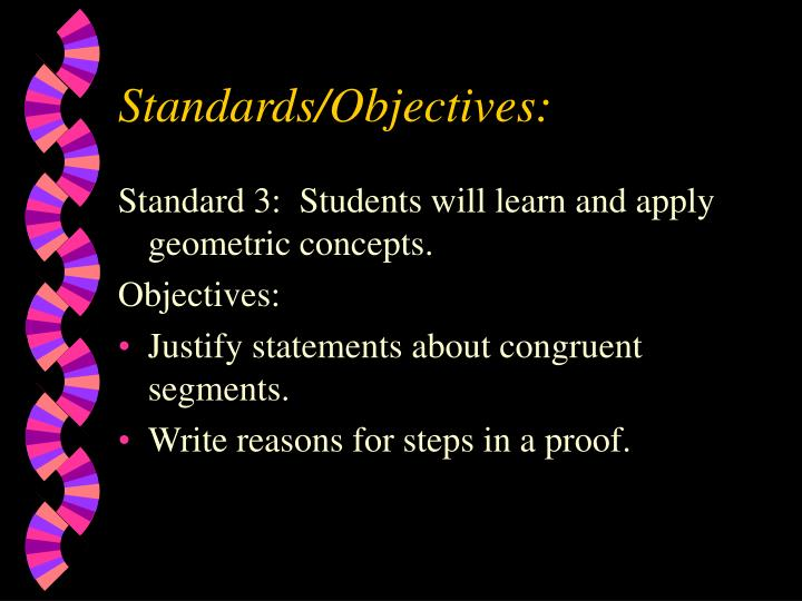 Standards objectives