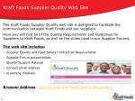 kraft foods supplier quality web site