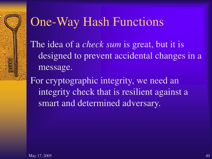 One-Way Hash Functions