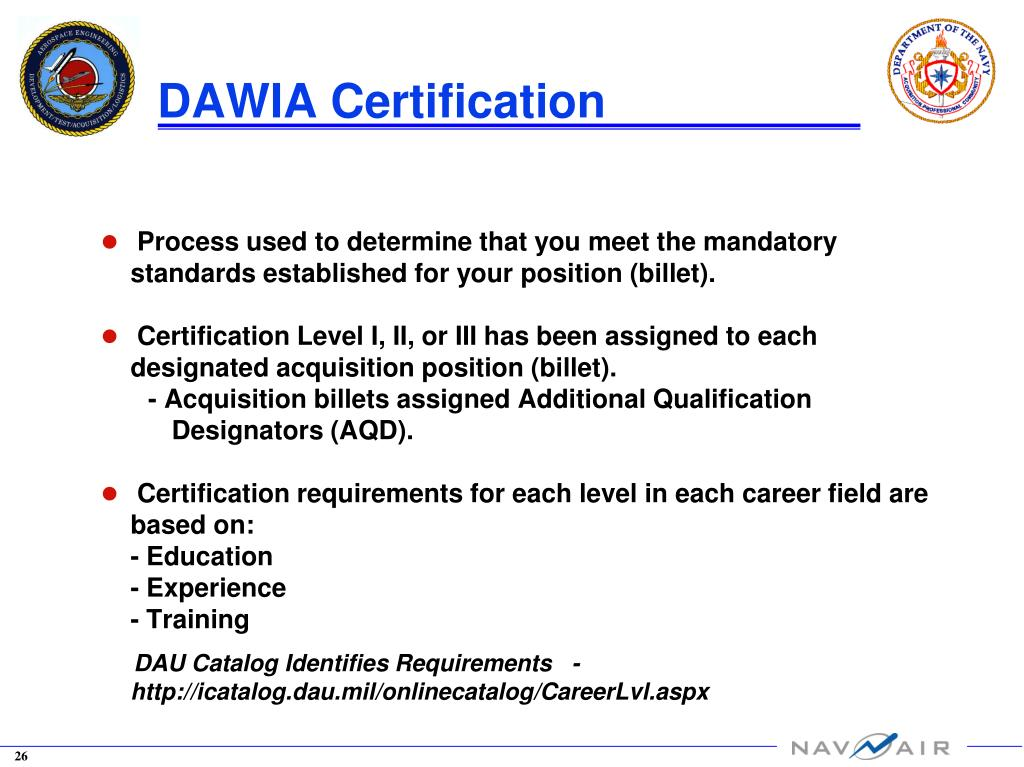 certification engineering level acquisition dawia aedo aerospace officer duty overview february community ii iii ppt powerpoint presentation billet