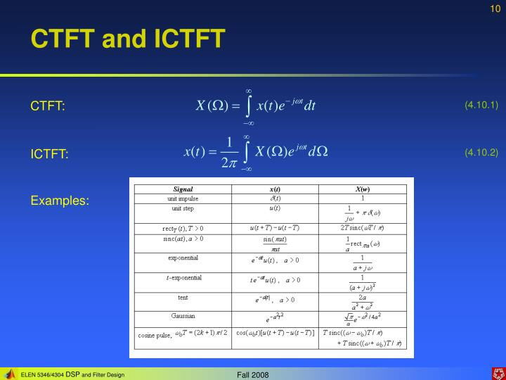 CTFT and ICTFT