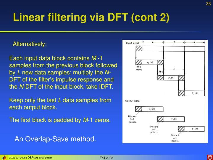 Linear filtering via DFT (cont 2)