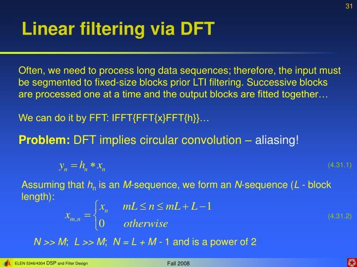 Linear filtering via DFT