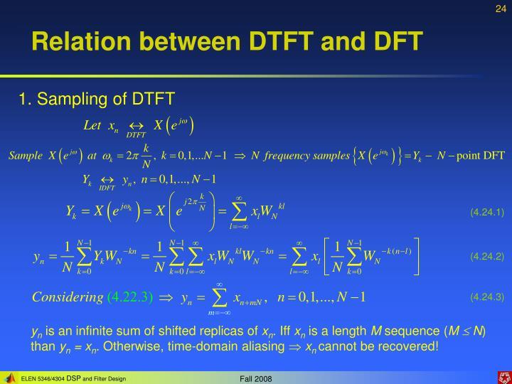 Relation between DTFT and DFT