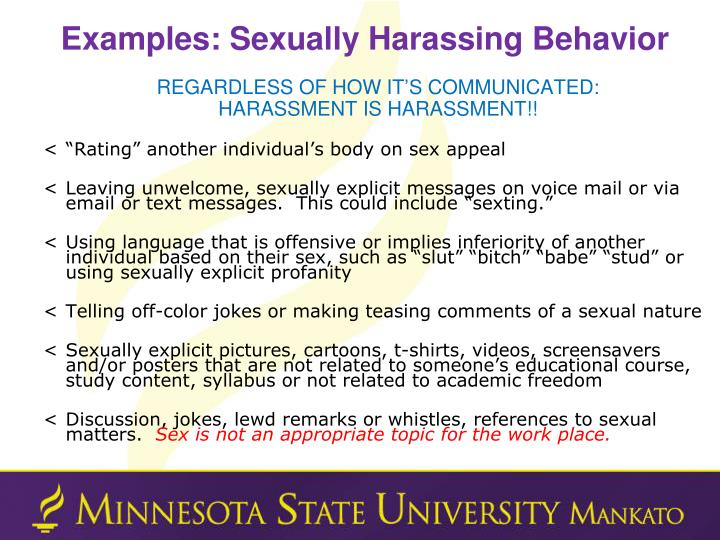 Examples: Sexually Harassing Behavior