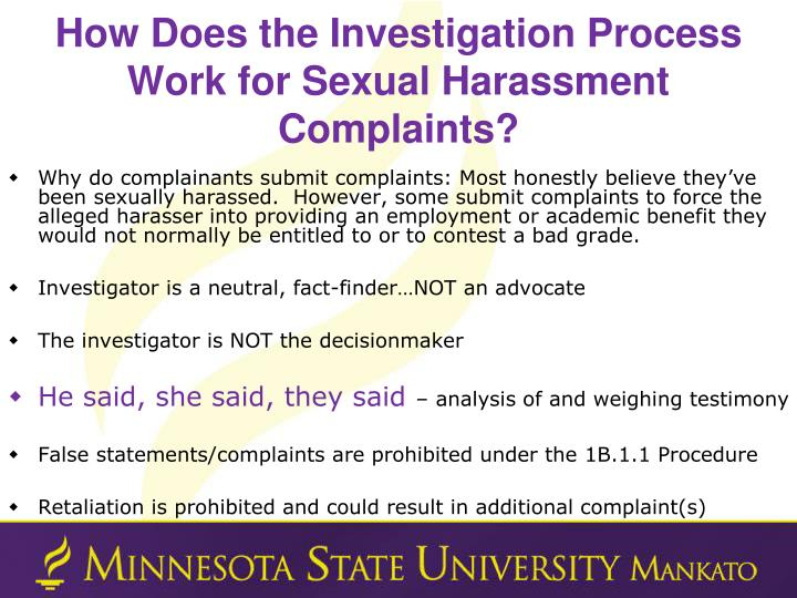 How Does the Investigation Process Work for Sexual Harassment Complaints?