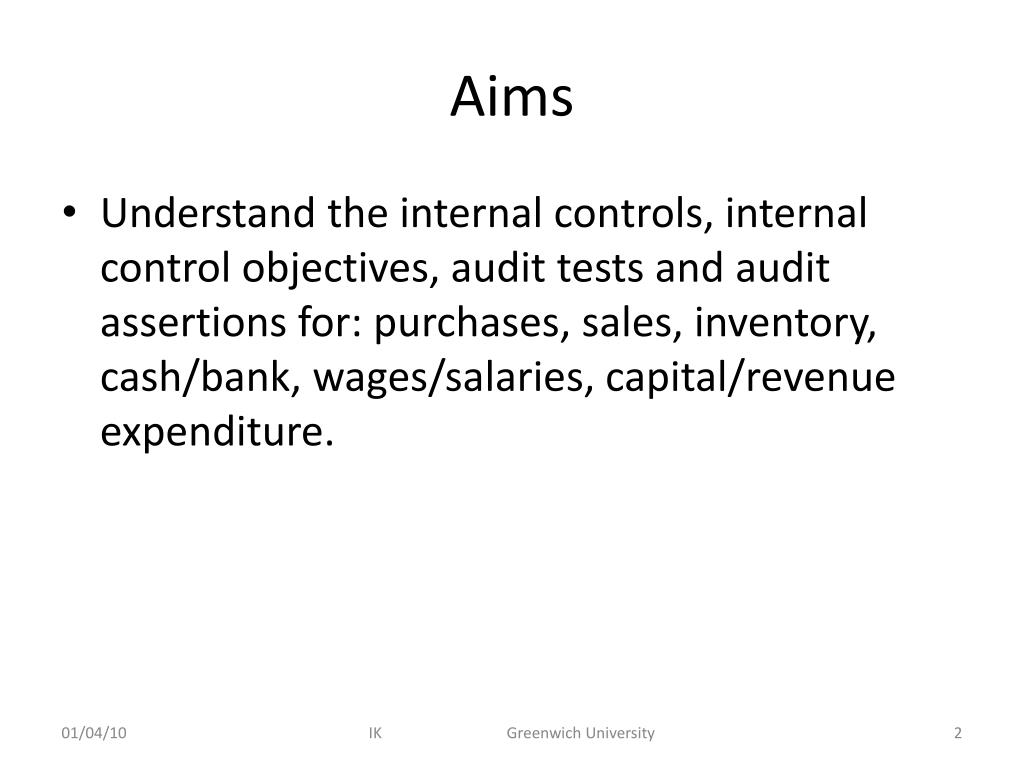 PPT - Internal controls and control testing: Part 3