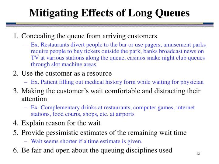 Mitigating Effects of Long Queues