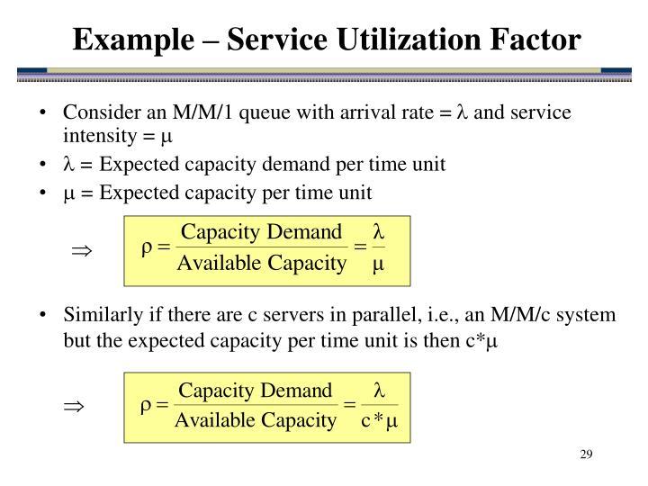 Example – Service Utilization Factor