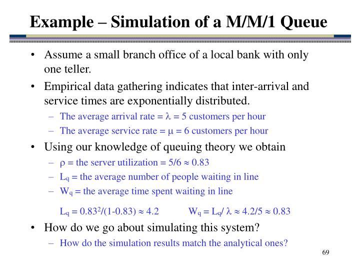 Example – Simulation of a M/M/1 Queue