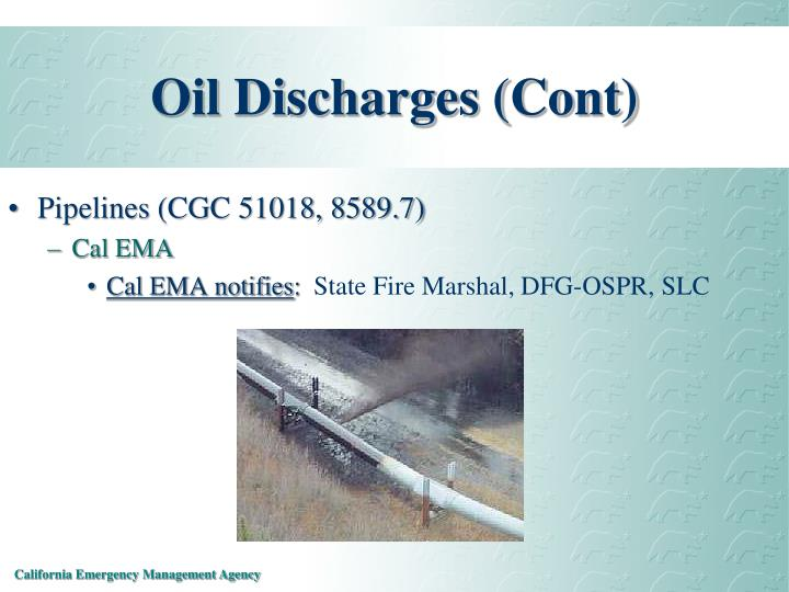Oil Discharges (Cont)