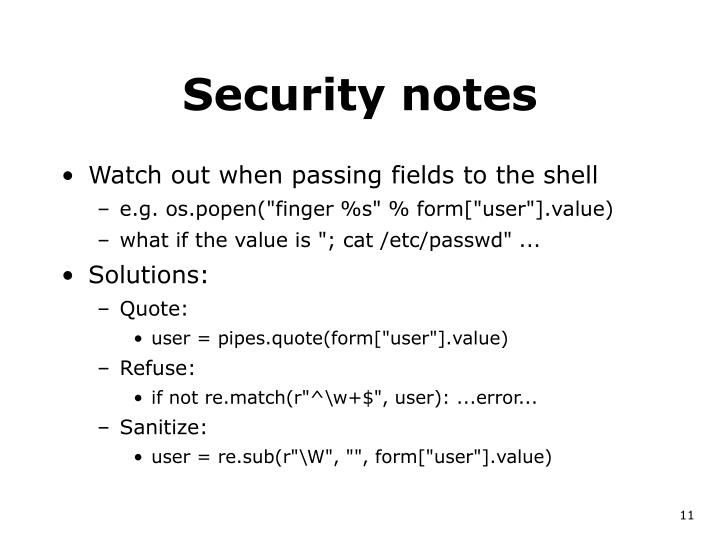 Security notes