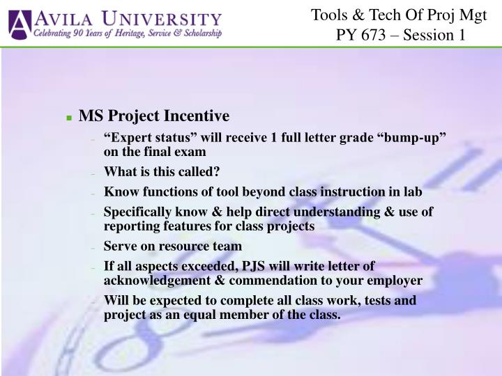 MS Project Incentive