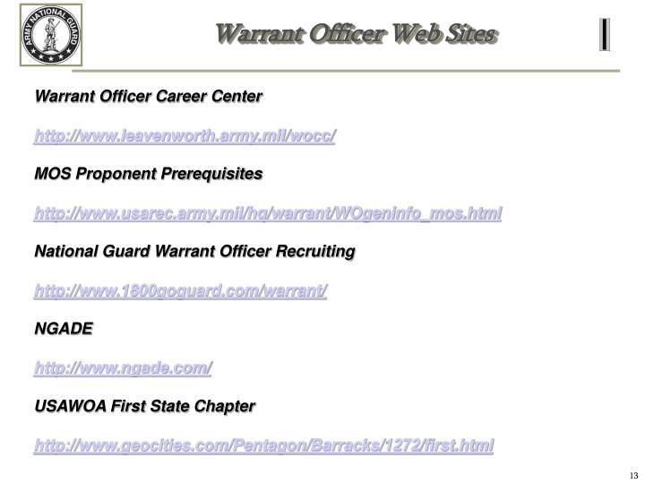 Warrant Officer Web Sites