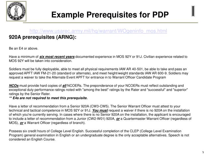 Example Prerequisites for PDP