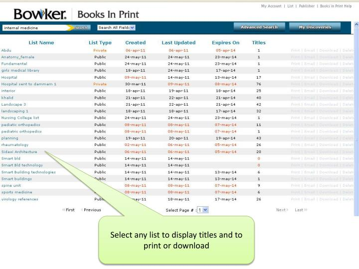 Select any list to display titles and to print or download