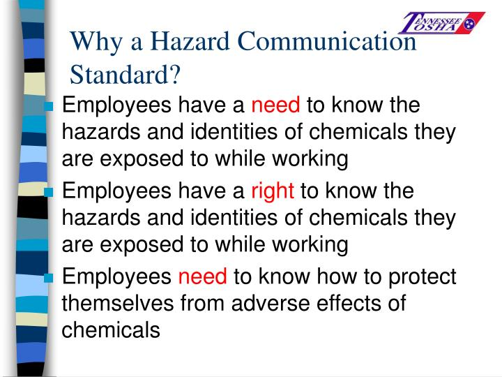 Why a Hazard Communication Standard?