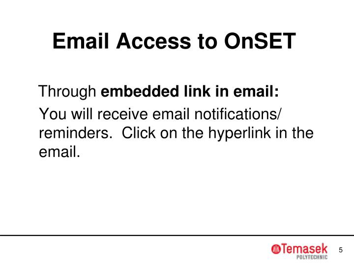 Email Access to OnSET
