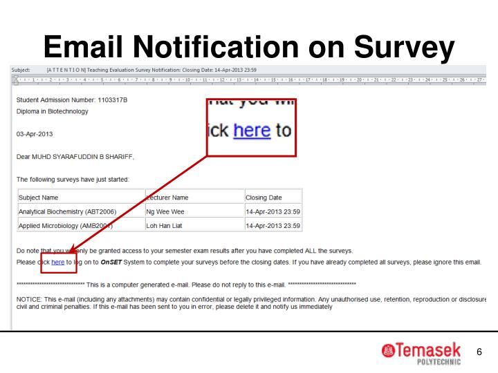Email Notification on Survey