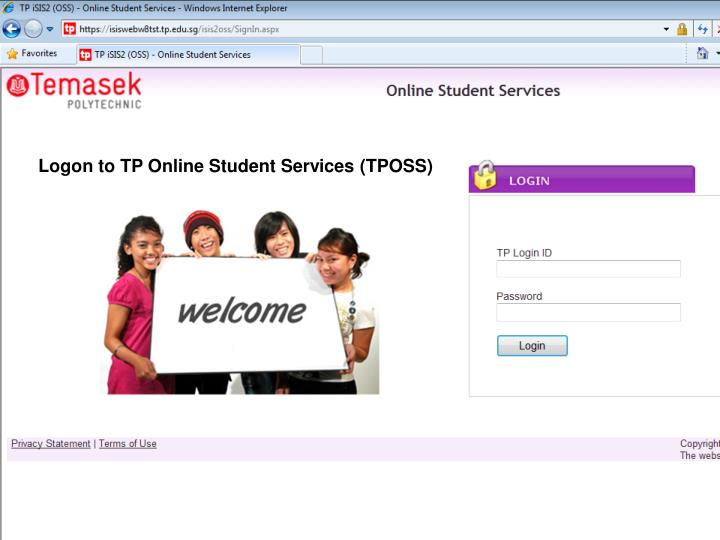 Logon to TP Online Student Services (TPOSS)