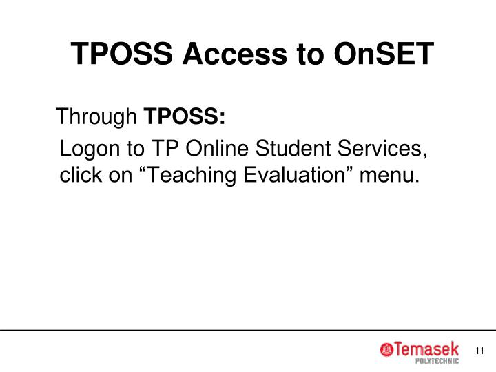 TPOSS Access to OnSET