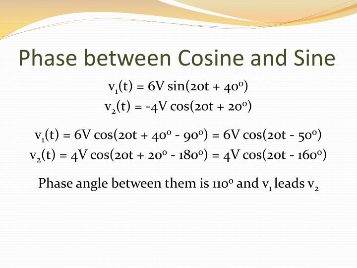 Phase between Cosine and Sine