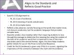 aligns to the standards and reflects good practice2