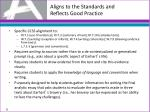 aligns to the standards and reflects good practice3