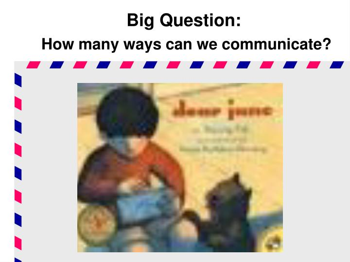 big question how many ways can we communicate n.