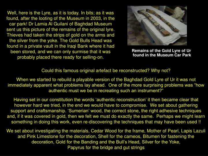 Remains of the Gold Lyre of Ur