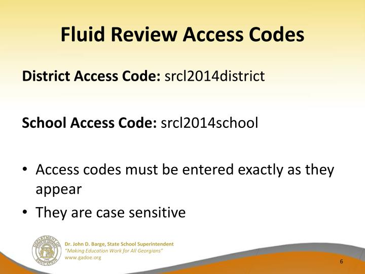 Fluid Review Access Codes