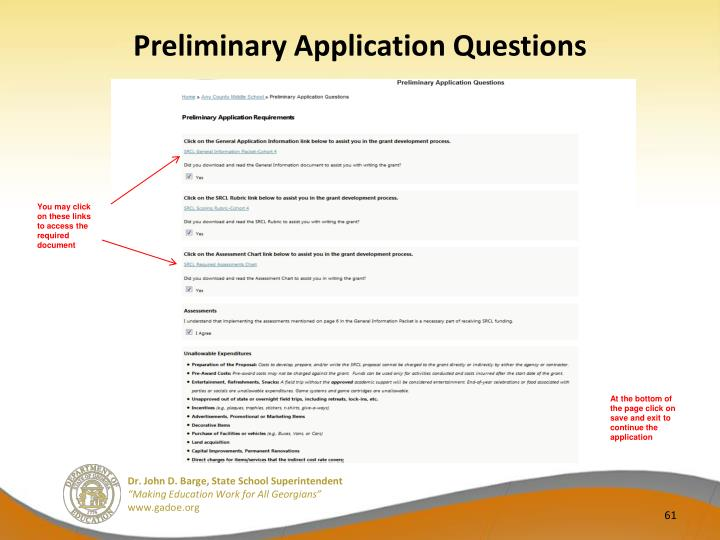 Preliminary Application Questions