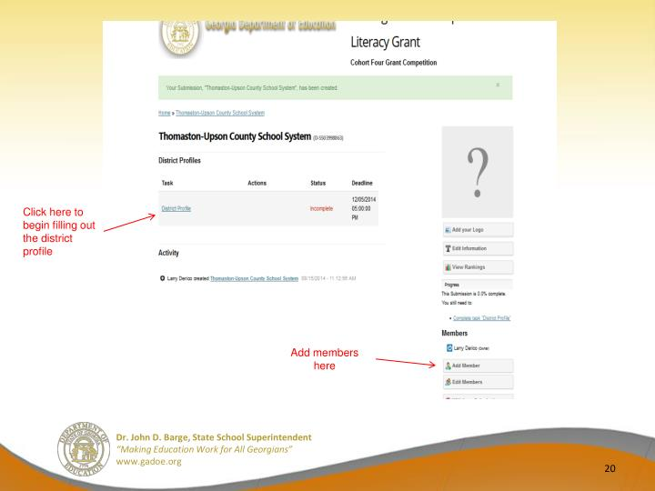 Click here to begin filling out the district profile