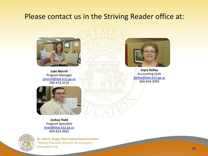 Please contact us in the Striving