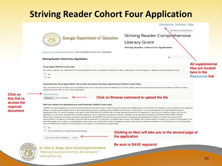 Striving Reader Cohort Four Application