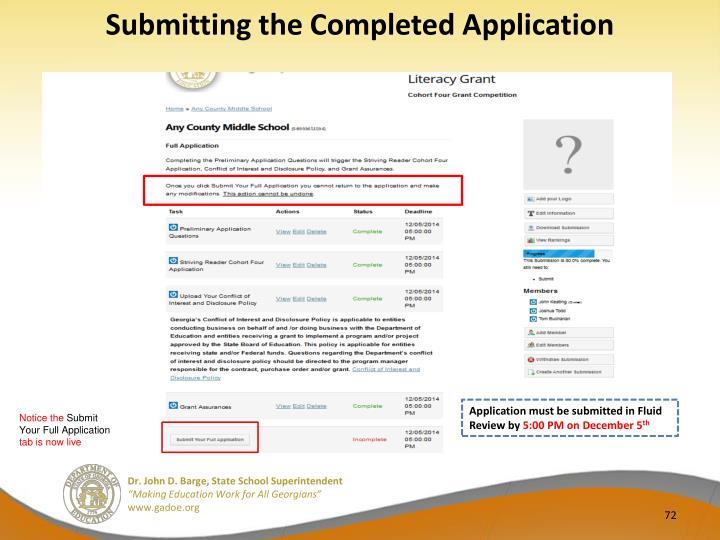Submitting the Completed Application