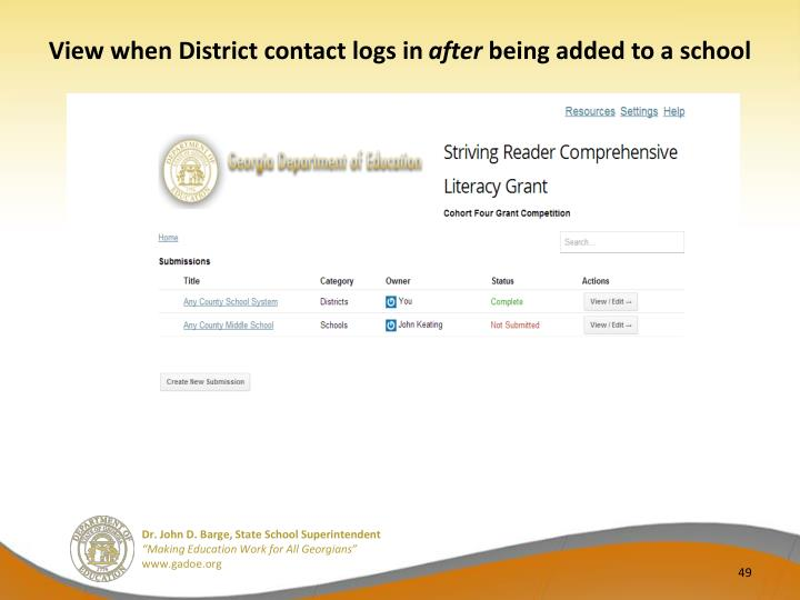 View when District contact logs in