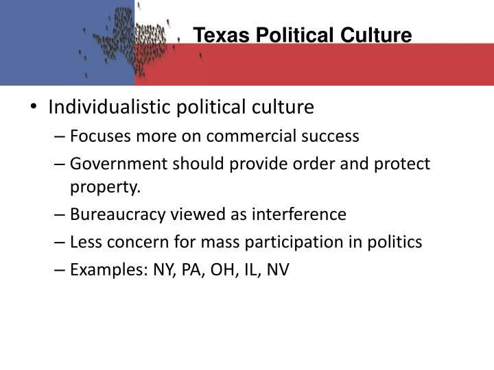 examples of moralistic political culture in texas