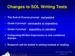 changes to sol writing tests