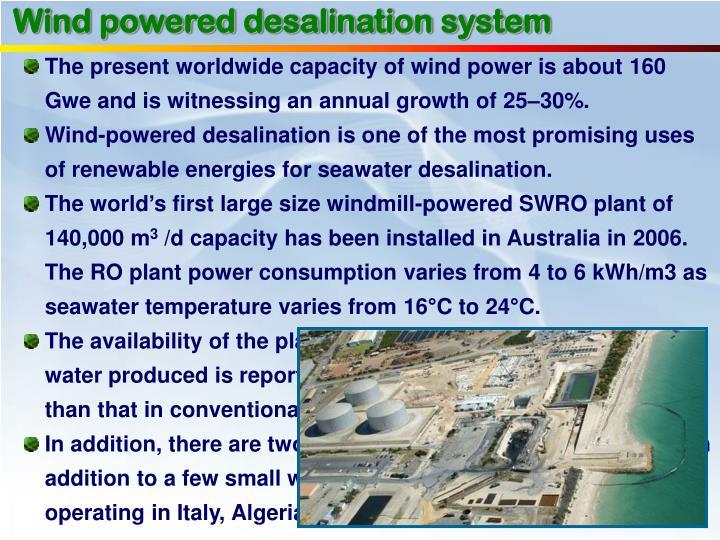 Wind powered desalination system